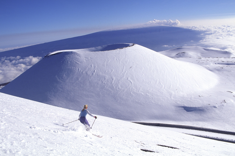 Skiing, Snow capped Mauna Kea, Island of Hawaii.
