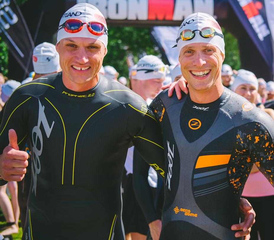 Ain-Alar Juhanson ning IRONMAN kommentaator Till Schenk 4:18:4 triatloni stardis Otepääl 6. augustil 2017